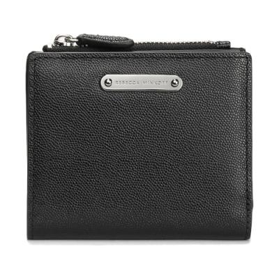 Rebecca Minkoff 質感皮革金屬牌LOGO證件零錢短夾-黑色