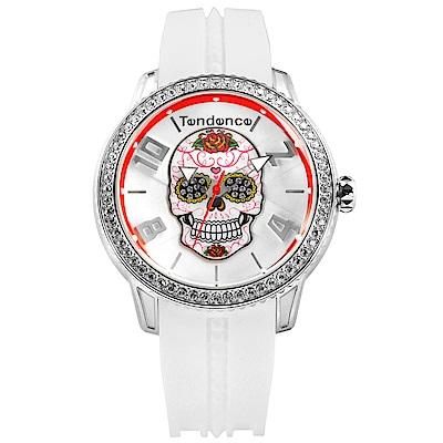 Tendence 天勢錶 墨西哥骷髏系列弧型礦石強化玻璃防水矽膠手錶-白色/47mm