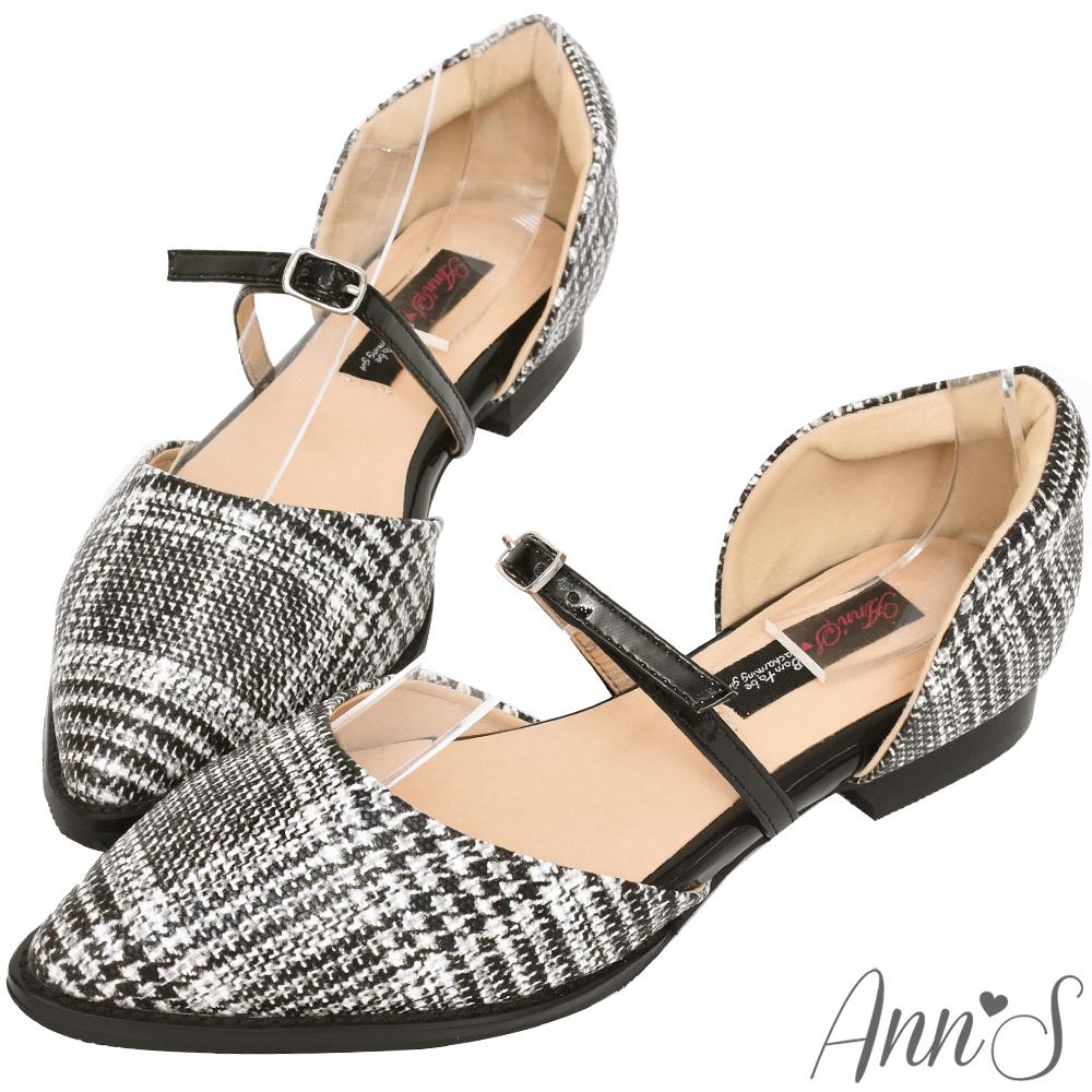 Ann'S知性質感-腳背繫帶沙發後跟尖頭平底鞋-毛呢