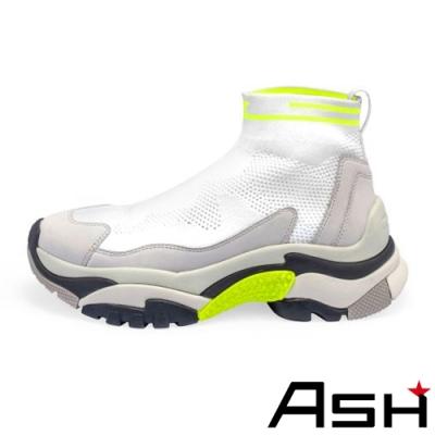 ASH-ADDICT STRETCH高筒針織撞色增高襪套老爹鞋-白