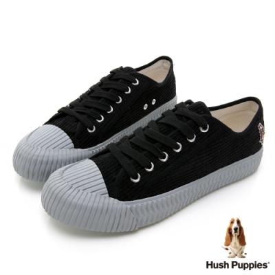 Hush Puppies 燈心絨休閒餅乾鞋-黑色