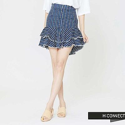H:CONNECT 韓國品牌 女裝-直條紋層次短裙-藍