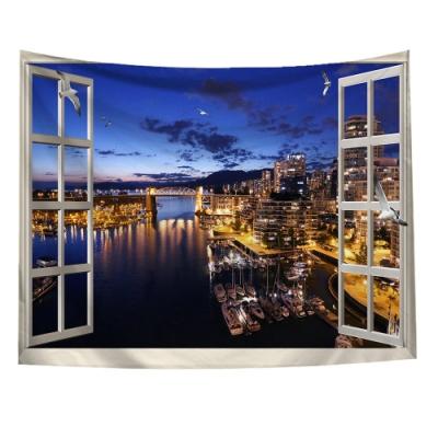半島良品 北歐風裝飾掛布-窗景系列/窗景-夜景 150x130cm
