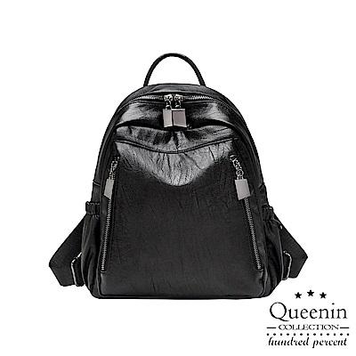 DF Queenin日韓 - 韓版簡約百搭多功能質感雙肩包-黑色