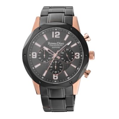 Roven Dino羅梵迪諾 細緻時尚三眼腕錶-黑x玫瑰金(RD783B-498)43mm
