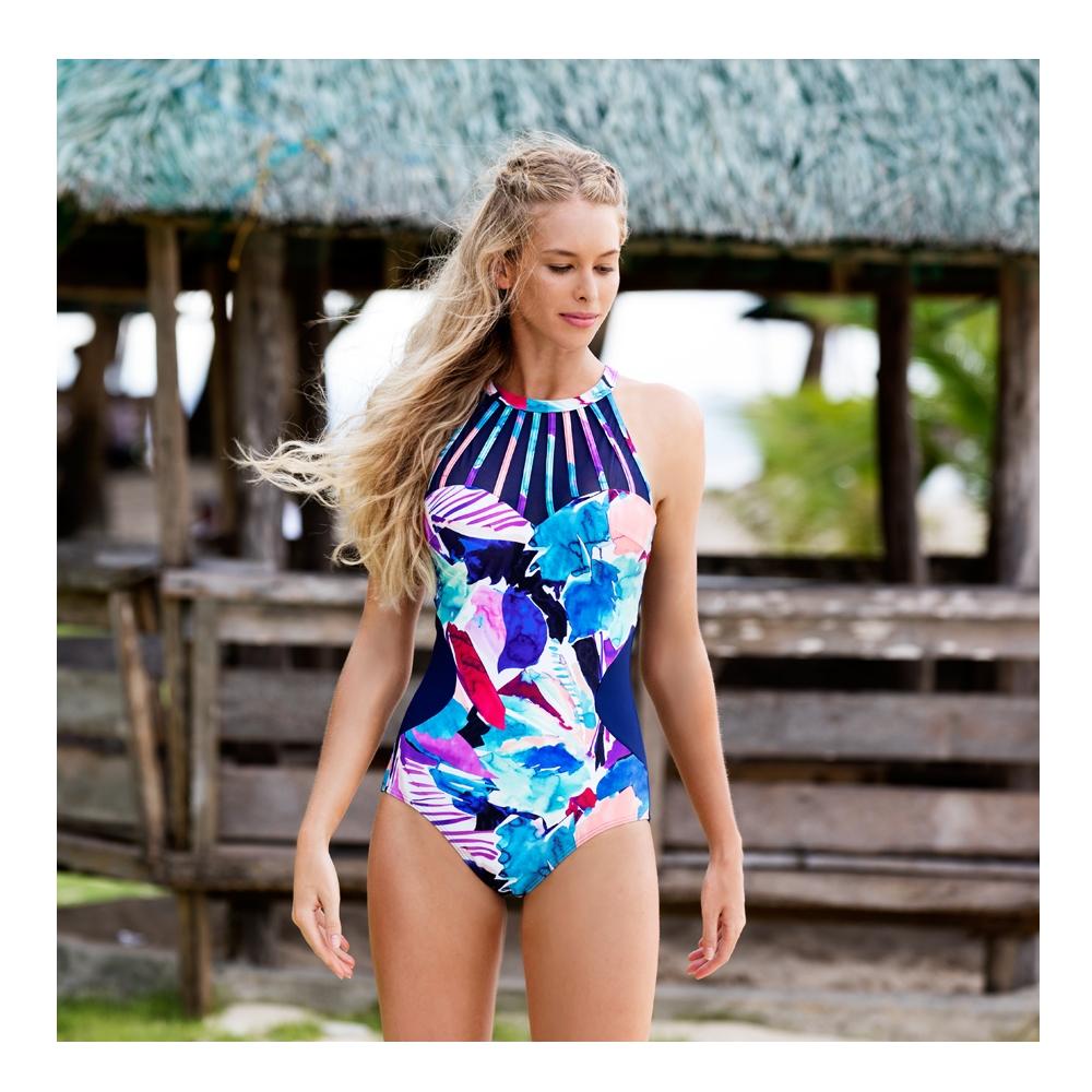 澳洲Sunseeker泳裝機能型系列削肩鋼圈魔術罩杯連身式三角泳裝-8190057NAV