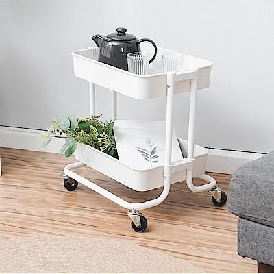樂嫚妮 ABS耐重二層收納置物車/推車/置物架-白