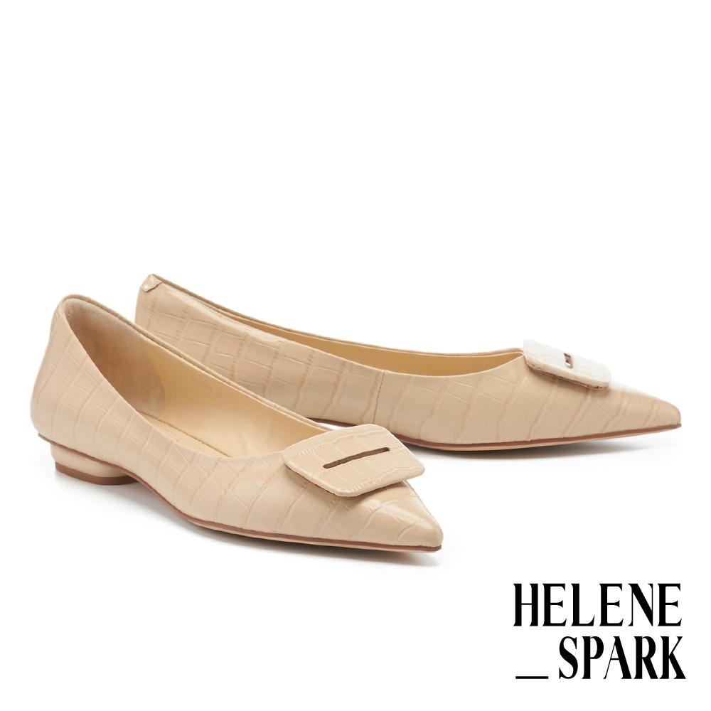 平底鞋 HELENE SPARK 簡約質感方釦全真皮尖頭平底鞋-米