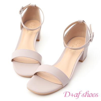 D+AF 完美夏日.一字繫踝方頭低跟涼鞋*紫