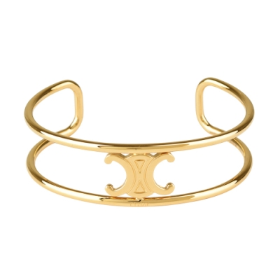 Celine MAILLON TRIOMPHE系列黃銅鍍金LOGO設計開口手鐲(金)