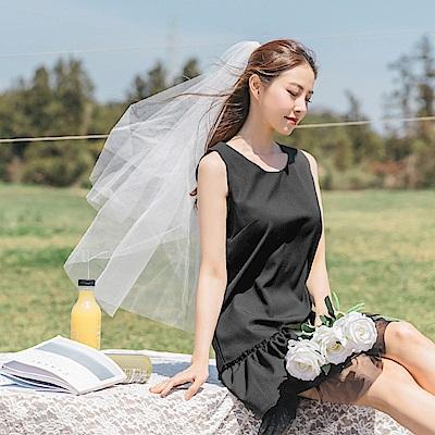婚禮系列~網紗荷葉裙襬拼接純色背心洋裝-OB大尺碼