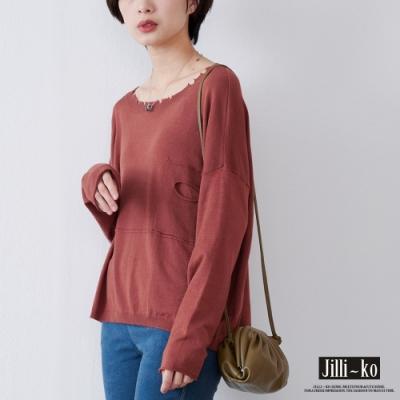 JILLI-KO 造型不規則設計質感針織上衣- 磚紅