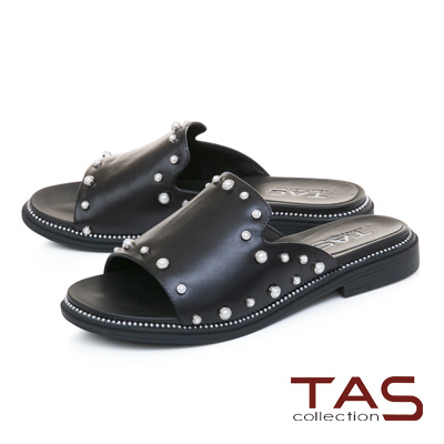 TAS珍珠鉚釘一字寬版牛皮涼拖鞋-率性黑