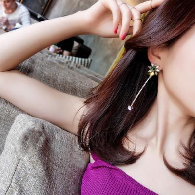 梨花HaNA 韓國925銀針水仙花水晶流蘇鑽石耳環