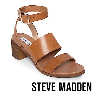 STEVE MADDEN- ALEX 真皮二字繫帶涼鞋-棕色