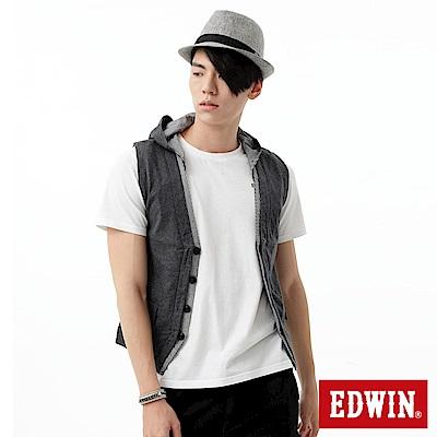【EDWIN】休閒時尚 針織接格連帽背心-男款(質感灰)