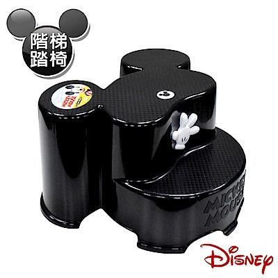 Disney 米奇大頭造型日本製 防滑兒童椅 階梯椅 踩腳椅 防滑矮凳(全年齡適用)-黑