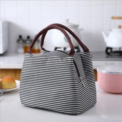 PUSH!居家生活用品新款條紋野餐包保溫包冰包防水便當包袋(黑色<b>2</b>入)S77