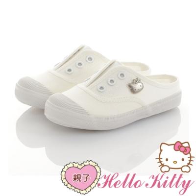 HelloKitty親子鞋童鞋 輕量減壓帆布懶人穆勒鞋-白