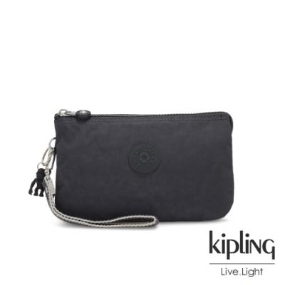 Kipling 都會簡約霧灰色三夾層配件包-大-CREATIVITY XL