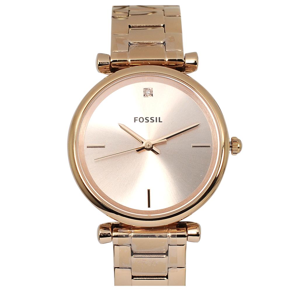 FOSSIL 美國精品手錶  CARBON玫瑰金錶盤錶框金屬錶帶35mm