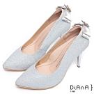 DIANA 注目吸睛-璀璨星紗後跟垂吊飾水鑽蝴蝶結跟鞋-銀