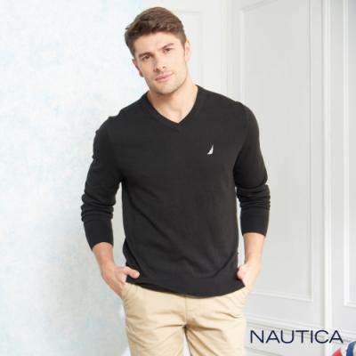 Nautica經典款長袖針織衫-黑色