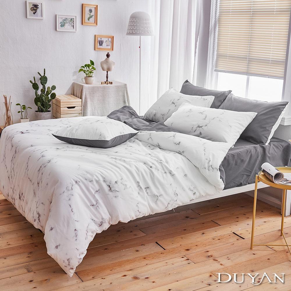 DUYAN竹漾 MIT 天絲絨-單人床包枕套兩件組-大理石太空灰