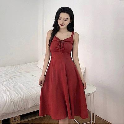 DABI 韓國風露肩收腰系帶修身性感吊帶無袖洋裝