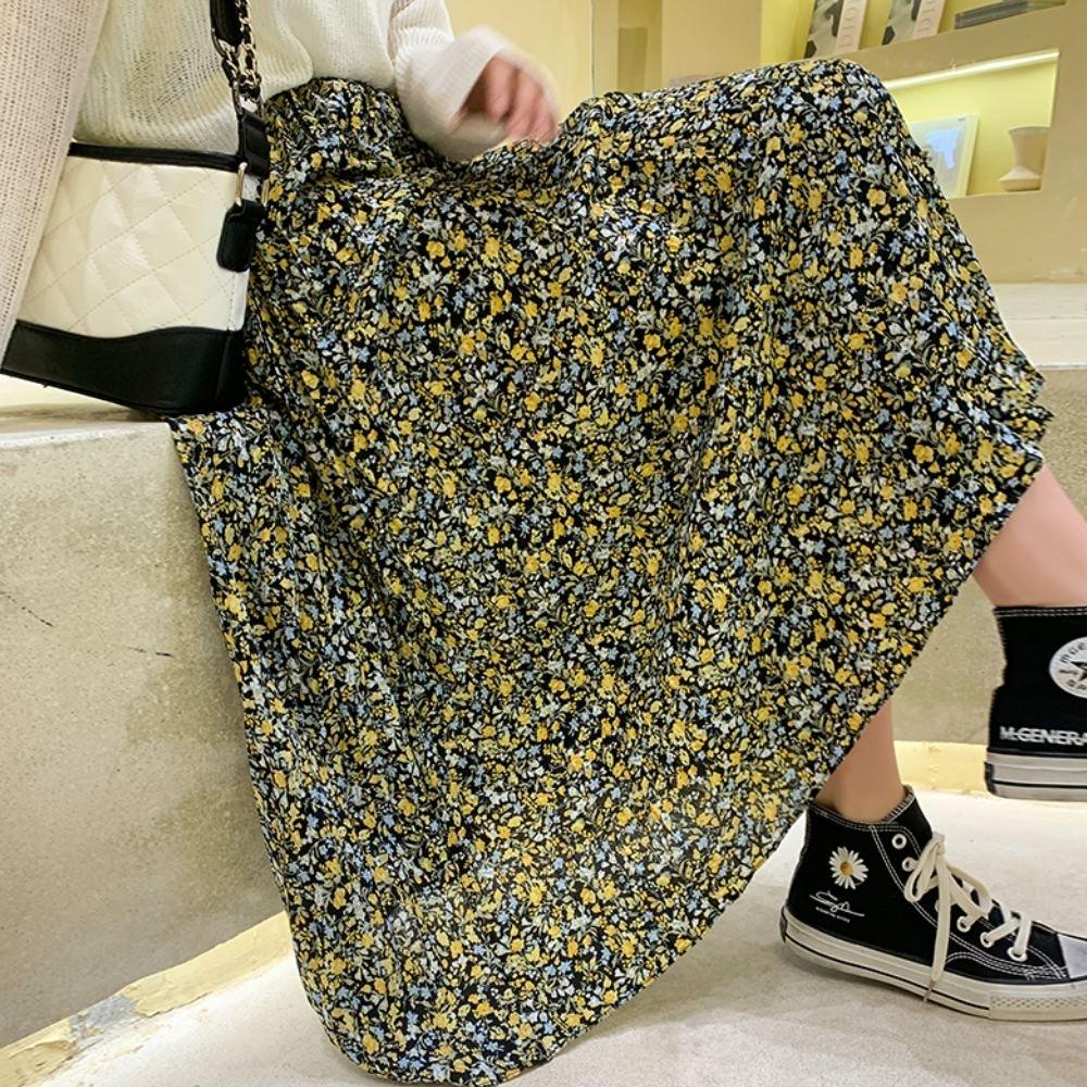 La Belleza鬆緊腰小新花朵印花壓折百摺裙大擺裙(有內襯)