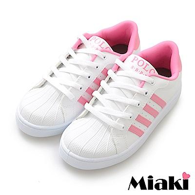 Miaki-休閒鞋.MIT經典時尚小白鞋-白粉