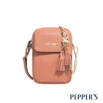 PEPPER S Ellie 羊皮掀蓋隨身包 - 奶茶棕