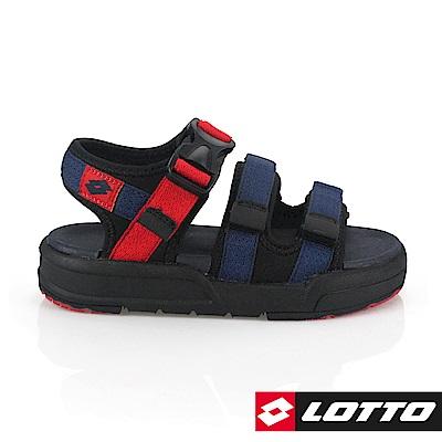 LOTTO 義大利 童 潮流織帶涼鞋 (藍/紅)