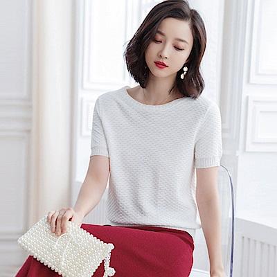 綻放  螺紋短袖針織衫-共2色(M/L可選)