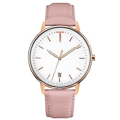 TYLOR 簡約質感皮革手錶-白X粉/38mm