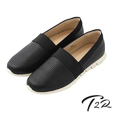 【T2R】真皮手工透氣拼接質感懶人鞋-黑