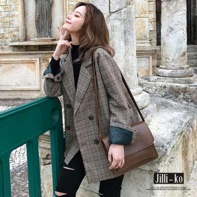 JILLI-KO 英倫風百搭格紋雙排釦西裝外套- 格紋棕