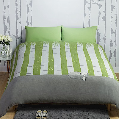 Yvonne Collection 狐狸(綠樹)加大三件式被套組+壓縮枕一對