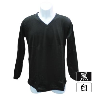 高級男式刷毛保暖衣-V領-白色/黑色-4件入