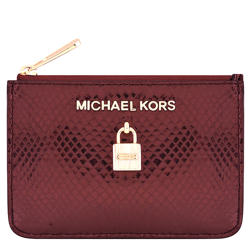 MICHAEL KORS Adele 亮澤蛇紋牛皮鎖頭鑰匙零錢包(紅色)