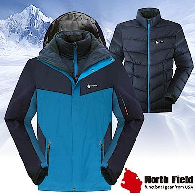 North Field 男 二件式防風防水外套+內層保暖羽絨夾克_孔雀藍