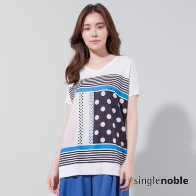 獨身貴族 幾何趣味圓點印花拼接針織衫(2色)