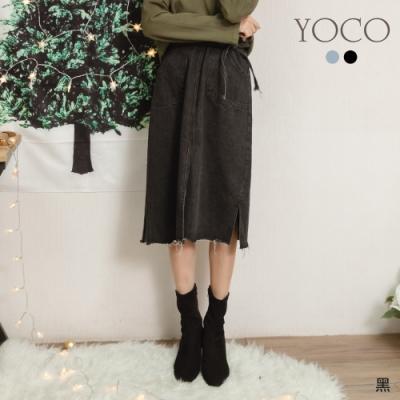 東京著衣-YOCO 優雅女伶雙口袋下擺開岔附綁帶牛仔中長裙-S.M.L