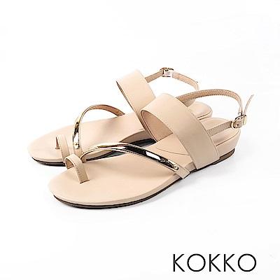 KOKKO - 極度舒適女孩指環扣牛皮平底涼拖鞋-王妃米