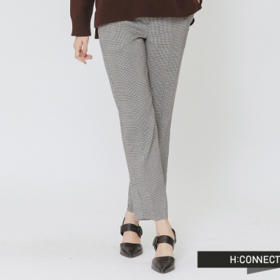 H:CONNECT 韓國品牌 女裝 -知性格紋直筒長褲- 卡其(快)