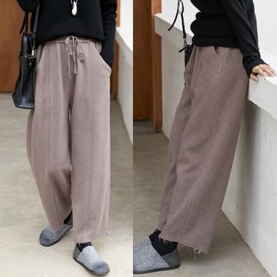 厚軟空氣感雙層加厚針織寬鬆直筒褲-設計所在