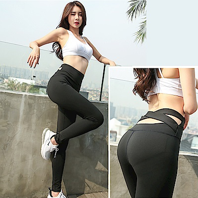 【KISSDIAMOND】塑腰交叉瑜珈運動緊身褲-8101