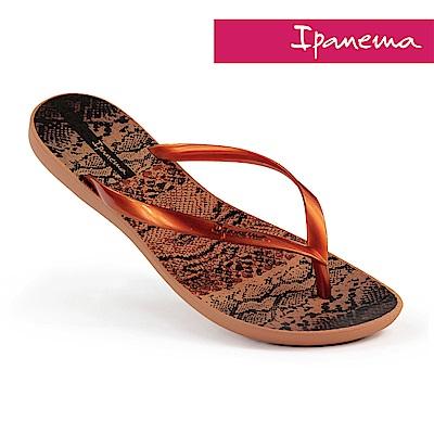 IPANEMA 舞動波紋 夾腳拖鞋-棕色/紅銅色
