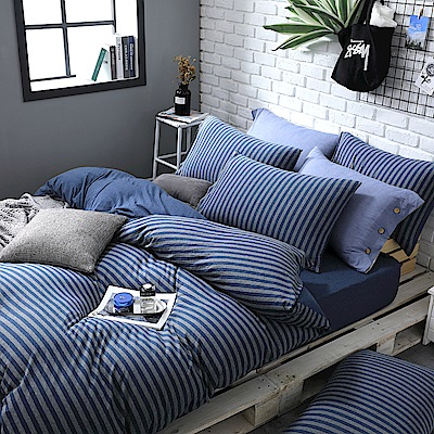 OLIVIA 天竺棉  光影  雙人床包美式枕套兩件組  100%新疆純棉