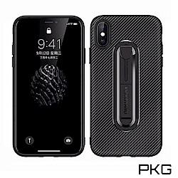 PKG Apple iPhone XR 手機殼 抗指紋時尚碳纖紋支架